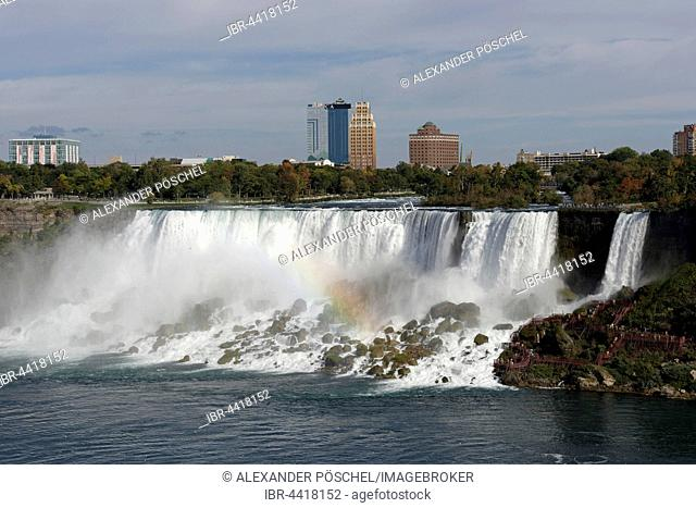 American Falls with rainbow, Falls View, Niagara Falls, province, Ontario Province, Canada