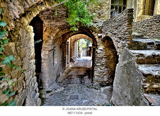 Bussana Vecchia is an old village, which was destroyed in the 19th Century by an earthquake and occupied since the 1960s by artists, Liguria, Italy