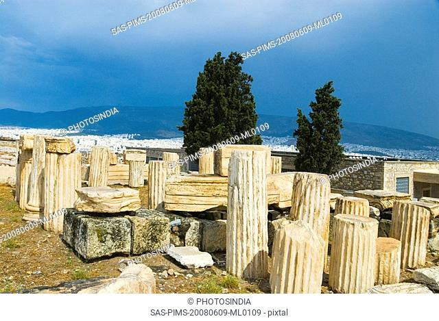 Ruins of columns in a field, Acropolis, Athens, Greece