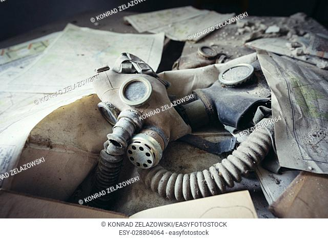 Gas mask in secondary school in Mashevo abandoned village of Chernobyl Nuclear Power Plant Zone of Alienation around nuclear reactor disaster, Ukraine
