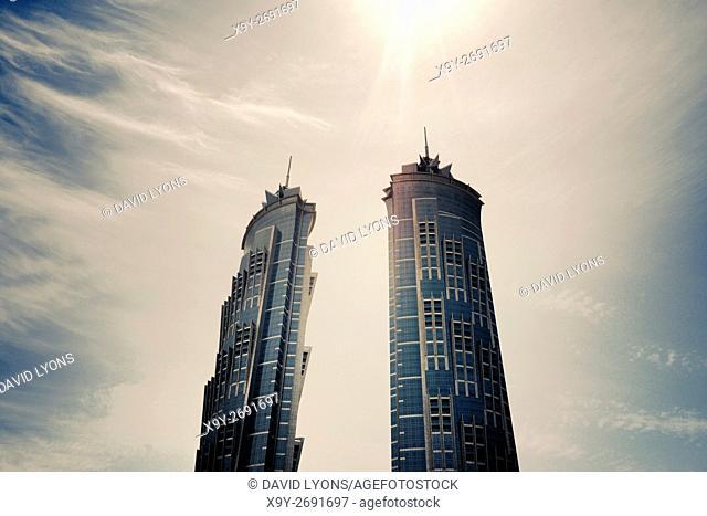 Twin towers of JW Marriot Marquis Dubai Hotel aka Emirates Park Towers. Dubai, UAE. World's tallest hotel 76 story 355 meters