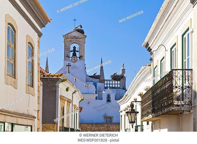 Portugal, Faro, Storks perching in birds nest on Arco da Vila