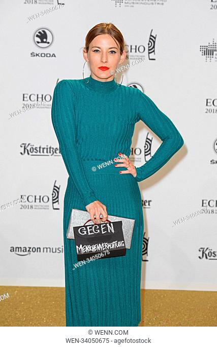 ECHO music awards 2018 at Messe (fair) - Arrivals Featuring: Jeannine Michaelsen Where: Berlin, Germany When: 12 Apr 2018 Credit: WENN.com
