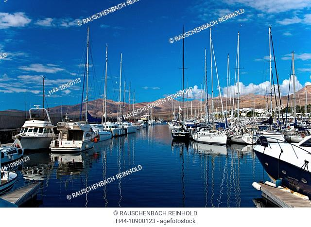 Puerto Calero, harbour, port, harbour arrangement, island, isle, quay, quay wall, Canary islands, isle, Lanzarote, sail boats, yacht, yacht harbour