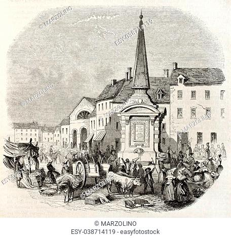 Old illustration of market place in Gournay, France. Created by Ponetenier, published on Magasin Pittoresque, Paris, 1850
