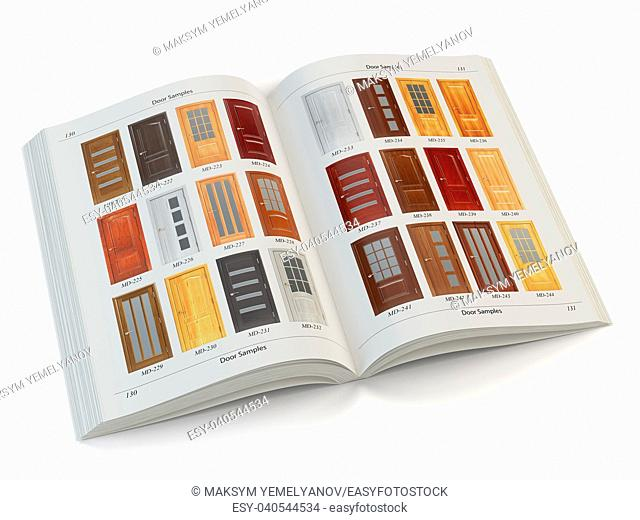 Catalog of wooden doors isolated on white. Interior design and construction concept. 3d illustration