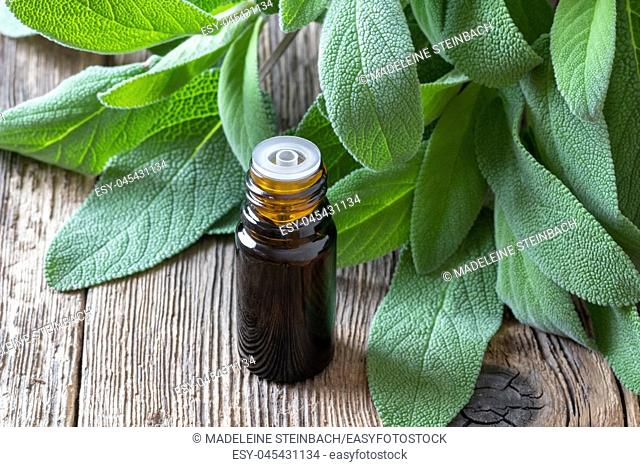 A bottle of essential oil with fresh sage