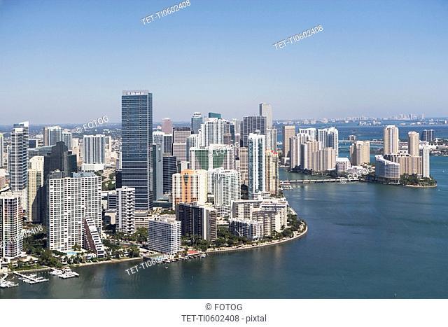 USA, Florida, Miami skyline as seen from air