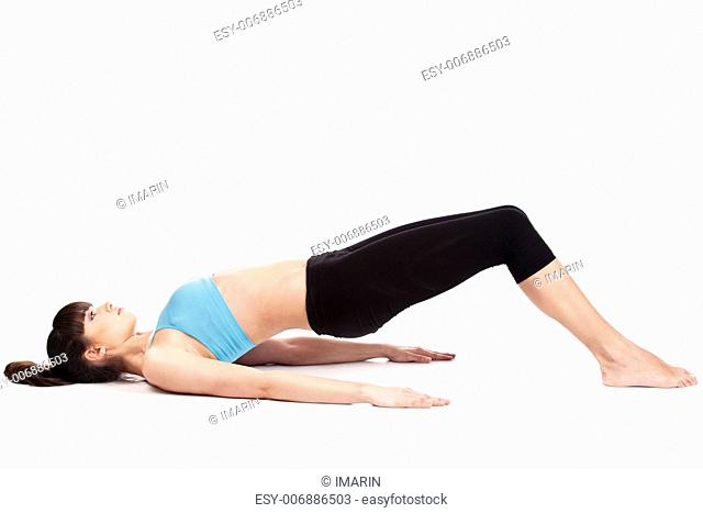 Young woman doing fitness exercises, isolated on white