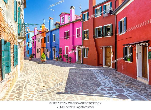 Colored houses at Calle Sospiri, Burano, Veneto, Italy, Europe