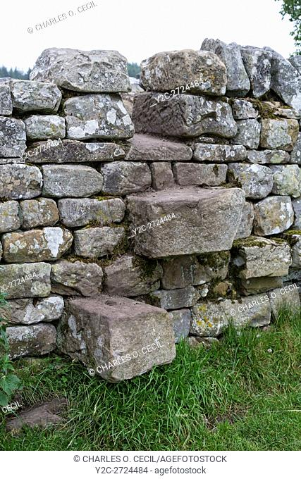 Northumberland, England, UK. A Step Stile Crossing over a Wall on the Hadrian's Wall Footpath