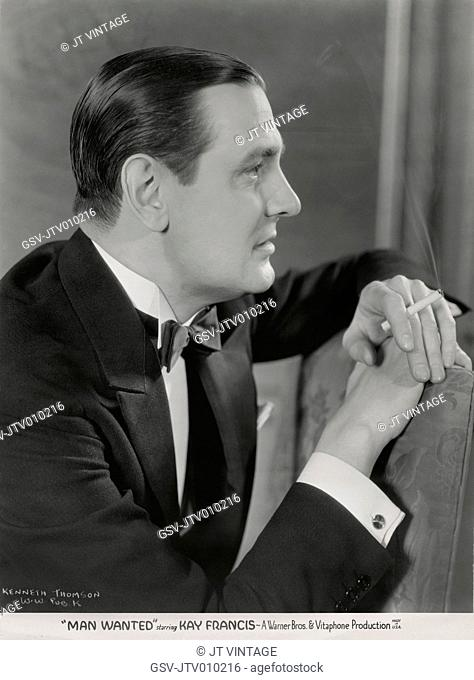 Kenneth Thomson, Publicity Portrait for the Film, Man Wanted, Warner Bros., 1932