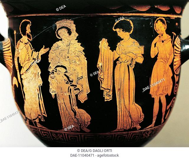 Greek civilization, 5th century b.C. Red-figure pottery. Bell krater by the Dolon Painter. Scene from Euripides' play Medea: Medea gives the mantle to Creusa