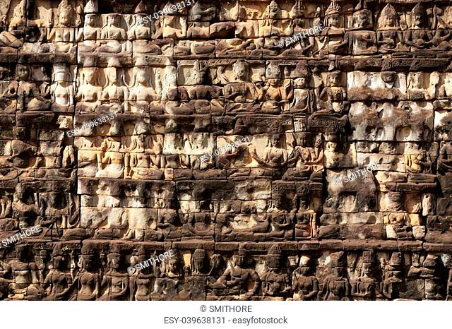 Carved temple wall, King Leper terrace, Angkor Thom, Cambodia