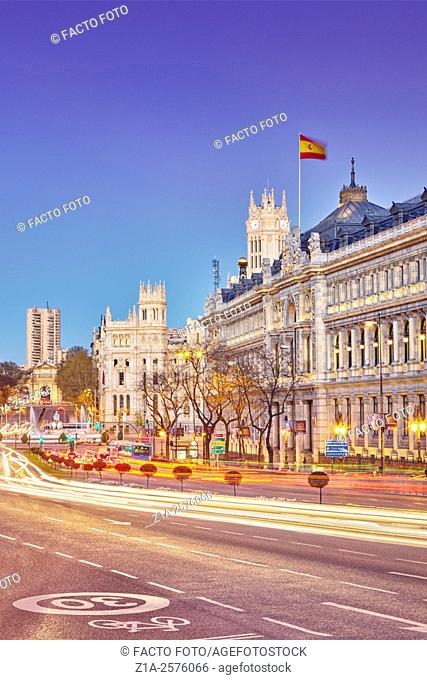 Bank of Spain facade and the city hall at Cibeles square. Madrid. Spain