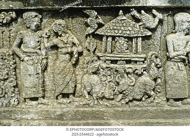 Java - Panataran, dated temple, 1369 A. D. East facade. Bubukshah legend