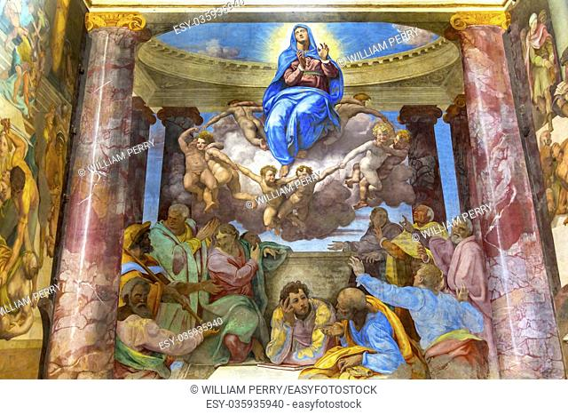 Mary Angels Fresco Trinita Dei Monti Church Spanish Steps Rome Italy. Chruch originally built in 1585. Assumption of Virgin Mary by Michelangelo pupil