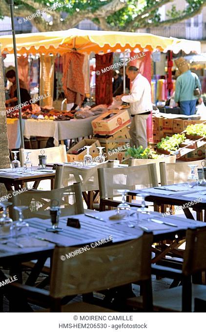 France, Drome, Drome Provencale, Nyons, Place des Arcades