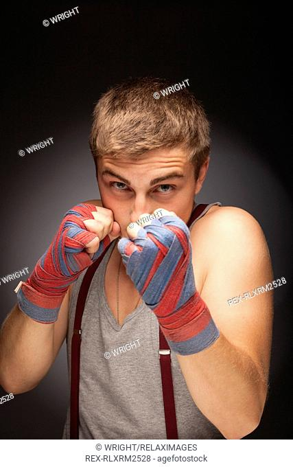 Teenager man confident boxer training fitness boy