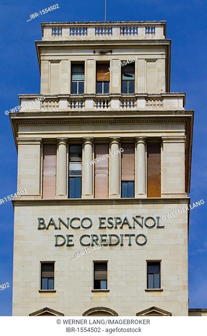 Banco Espanol de Credito bank, Barcelona, Catalonia, Spain, Europe