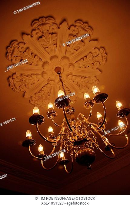 Electric chandelier in tungsten light