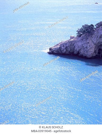 Italy, Apulia, Gargano, Baia di San Felice rock-coast South-Italy coast sea, Mediterranean, Adriatic Sea, nature, cliff