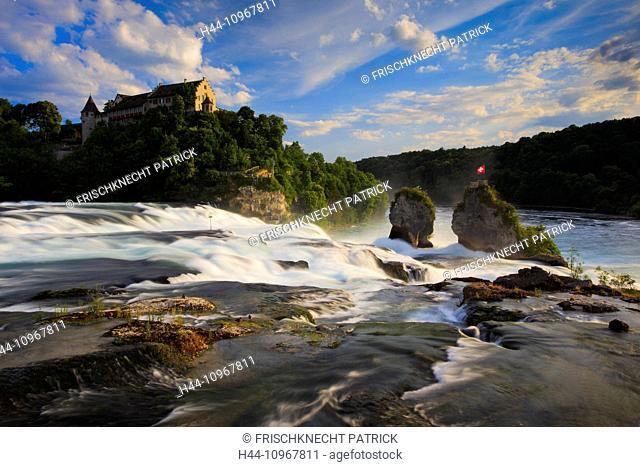 Evening, evening light, flag, cliff, rock, river, flow, body of water, water, Eastern Switzerland, panorama, Rhine, Rhine Falls, Rhine Fall, Schaffhausen
