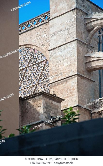 La Seu Cathedral gothic style architectural details in Palma de Mallorca, Balearic islands, Spain