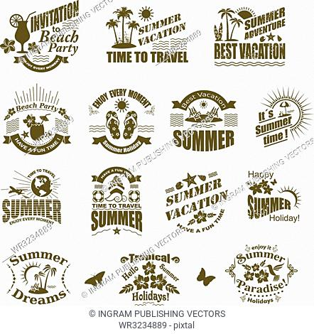 Set of SUMMER design elements and frames. Travel and vacation labels