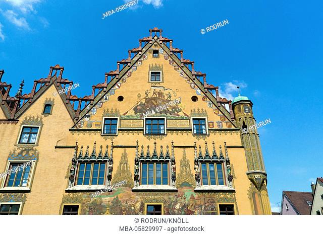 Germany, Baden-Wurttemberg, Ulm / Danube, city hall, the outside painting of the south facade became in 1905 anew decorates