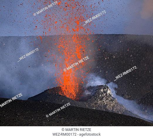 Italy, Stromboli volcano, eruptions