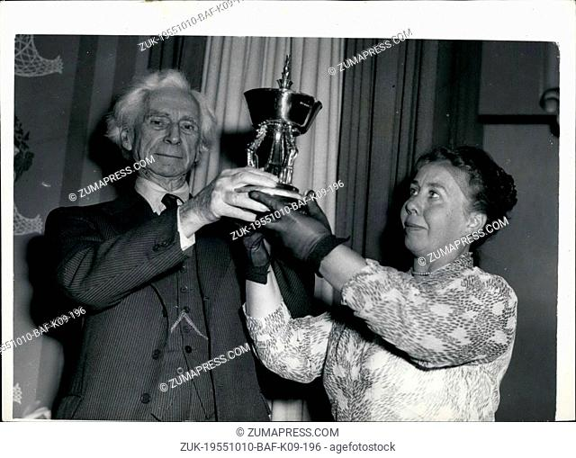 Oct. 10, 1955 - Bertand Russell Receives Silver Fears Trophy.: Bertrand Russel, today received the Silver Pears Trophy in recognition of his work in the cause...