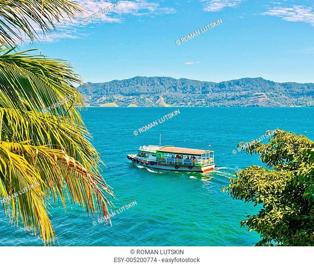 Boat on Lake Toba