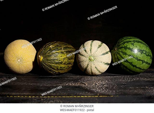 Four different melons in front of dark background