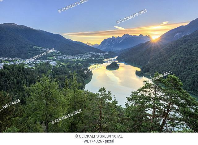 Pieve di Cadore, province of Belluno, Veneto, Italy, Europe. The Lake di Centro Cadore at sunrise