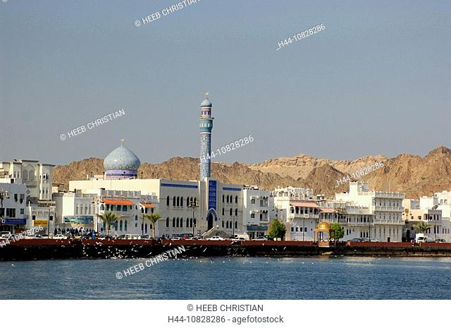 Corniche, mosque, dome, minaret, town, city, Old Town, At night, night, Muttrah, courage yard, Maskat, architecture, M