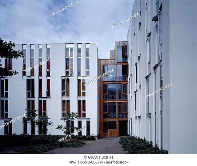 NEWINGTON GREEN STUDENT HOUSING, NEWINGTON GREEN, LONDON, N16 STOKE NEWINGTON, UK, HAWORTH TOMKINS ARCHITECTS, EXTERIOR, EAST ELEVATION OF BLOCK D