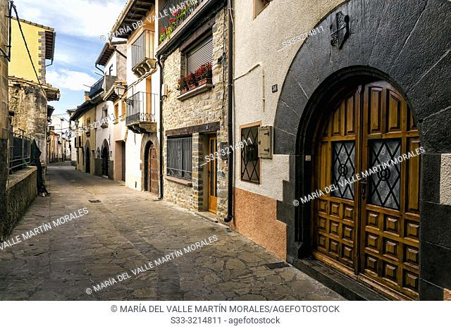 Typical street in Berdun. Huesca. Aragon. Spain. Europe