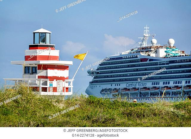 Florida, Miami Beach, South Pointe Park, Atlantic Ocean, departing, cruise ship, Carnival Victory, lifeguard station