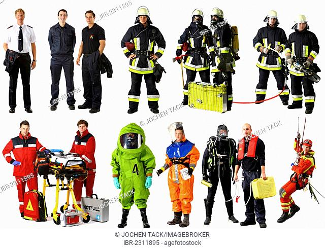 Firefighters wearing different uniforms, including a chemical protection suit, paramedics, a high-angle rescuer, a scuba diving suit and a protective suit for...
