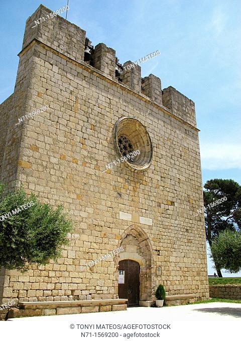 Castelló d'Empúries, Catalonia, Costa Brava, Girona, Spain, beach, landscape, vacation, church, chapel, village, stone, sea, brown, blue