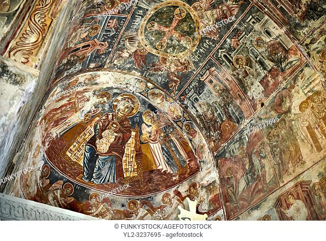 Picture & image the interior apse medieval frescoes of Theotokos, depicting the Virgin Mary, the Mother of God, and child, Khobi Georgian Orthodox Cathedral