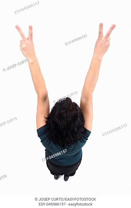 top view of a woman with finger sign victory