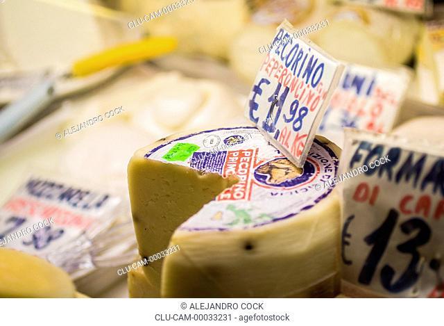 Cheese Sale, Market of Sant`Ambrogio, Florence, Tuscany, Italy, Western Europe