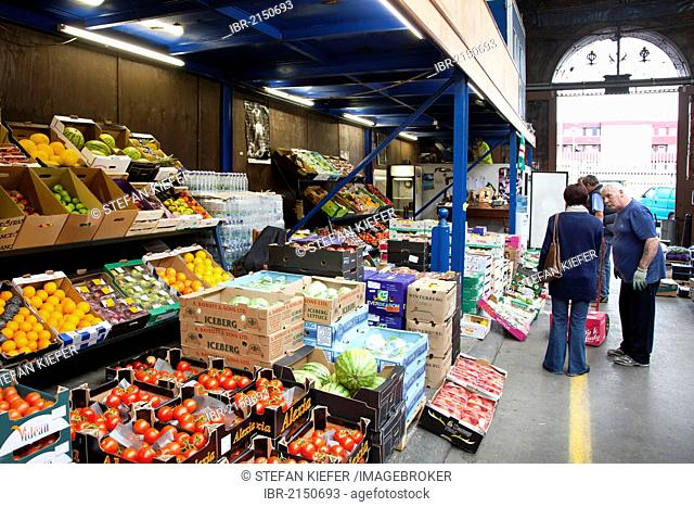 Fruits and vegetables in the wholesale market, Dublin City Fruit and Vegetable Market, in a Victorian indoor market hall in the Smithfield area, Dublin, Ireland