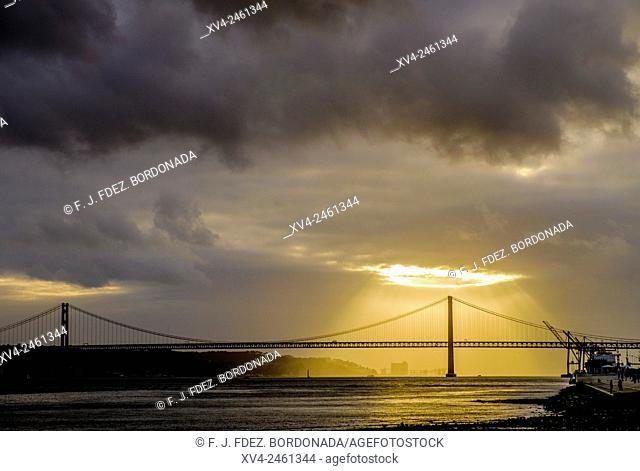 25th Of April Bridge, Tagus river sunset, Lisbon, Portugal