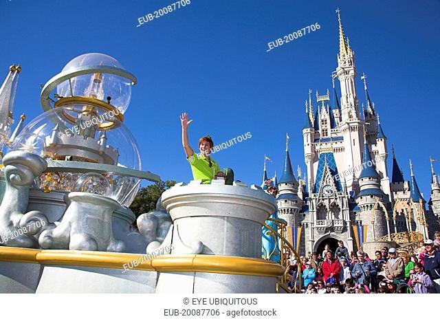 Walt Disney World Resort. Peter Pan character during the Disney Dreams Come True parade in the Magic Kingdom