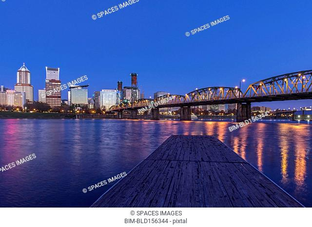 Illuminated buildings in Portland city skyline, Oregon, United States