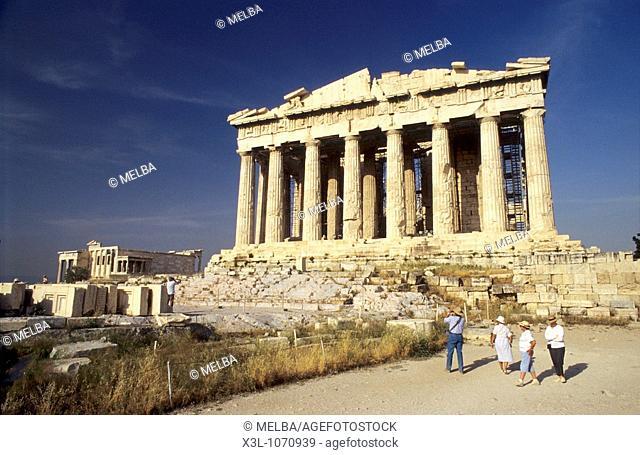 Tourists at Parthenon Acrópolis of Athens Greece