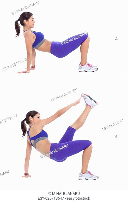 Start in a reverse plank position with your hips in line with your knees, your arms straight, and your hands facing your feet
